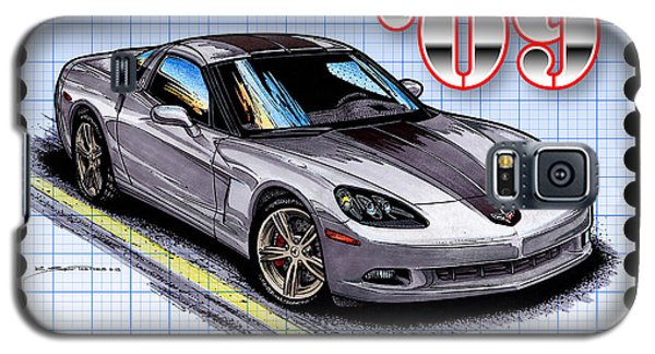 Galaxy S5 Case featuring the drawing 2009 Competition Edition Corvette by K Scott Teeters