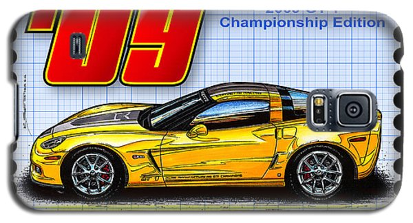 Galaxy S5 Case featuring the drawing 2009 Gt-1 Championship Edition Corvette by K Scott Teeters