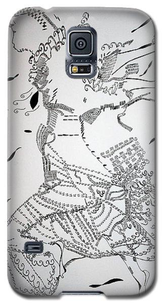 Galaxy S5 Case featuring the drawing Kiganda Dance - Uganda by Gloria Ssali