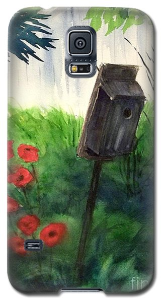 Galaxy S5 Case featuring the painting A Bird House In The Geddes Farm --ann Arbor Michigan by Yoshiko Mishina