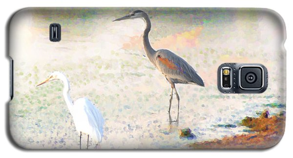 Galaxy S5 Case featuring the photograph A Blue Heron And His Bride by John  Kolenberg