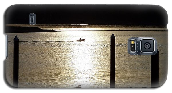 Galaxy S5 Case featuring the photograph A Lone Boat At Sunset by Chalet Roome-Rigdon