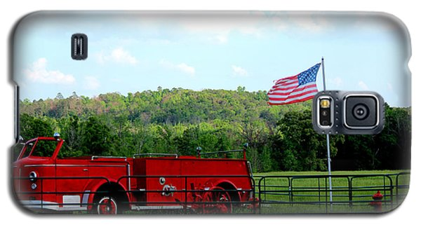 Galaxy S5 Case featuring the photograph A Tribute To The Fireman by Kathy  White