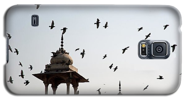 Galaxy S5 Case featuring the photograph A Whole Flock Of Pigeons On The Top Of The Ramparts Of The Red Fort In New Delhi by Ashish Agarwal