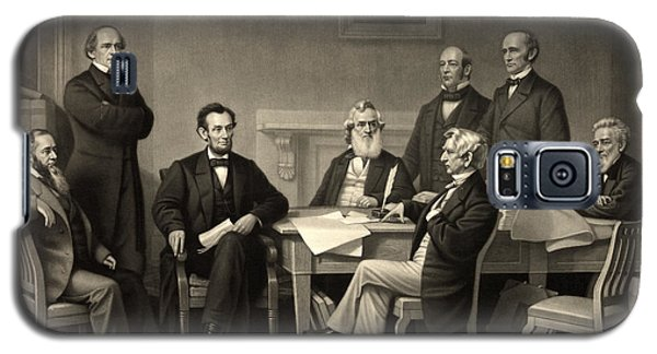Galaxy S5 Case featuring the photograph Abraham Lincoln At The First Reading Of The Emancipation Proclamation - July 22 1862 by International  Images