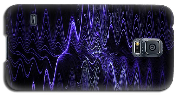 Abstract Digital Blue Waves Fractal Image Black Computer Art Galaxy S5 Case by Keith Webber Jr
