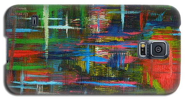 Galaxy S5 Case featuring the painting Abstract Lines by Everette McMahan jr