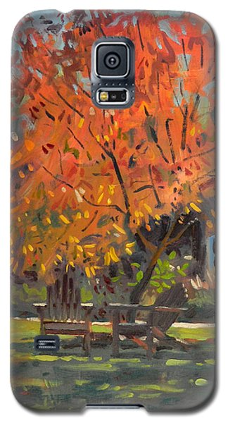 Galaxy S5 Case featuring the painting Adirondack Chairs by Donald Maier