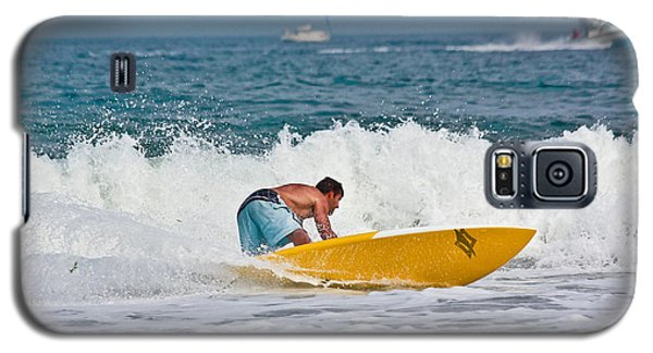 Galaxy S5 Case featuring the photograph After Catching A Great Wave by Ann Murphy