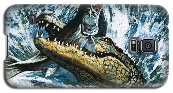 Alligator Galaxy S5 Case - Alligator Eating Fish by English School