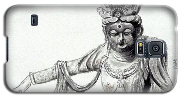 Galaxy S5 Case featuring the painting An Oriental Statue At Toledo Art Museum - Ohio- 2 by Yoshiko Mishina