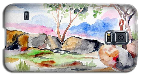 Galaxy S5 Case featuring the painting Australian Rocks Outback by Roberto Gagliardi