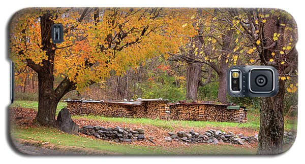 Galaxy S5 Case featuring the photograph Autumn Woodpile by Tom Singleton