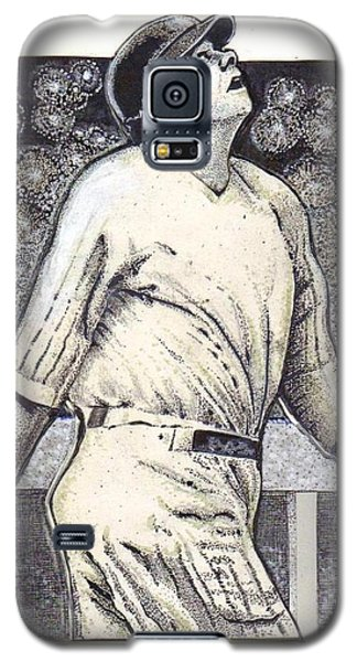 Galaxy S5 Case featuring the mixed media Babe Ruth Hits One Out Of The Park  by Ray Tapajna