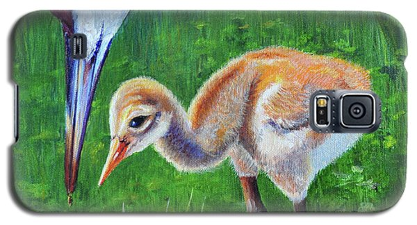 Galaxy S5 Case featuring the painting Baby Crane's Lesson by AnnaJo Vahle