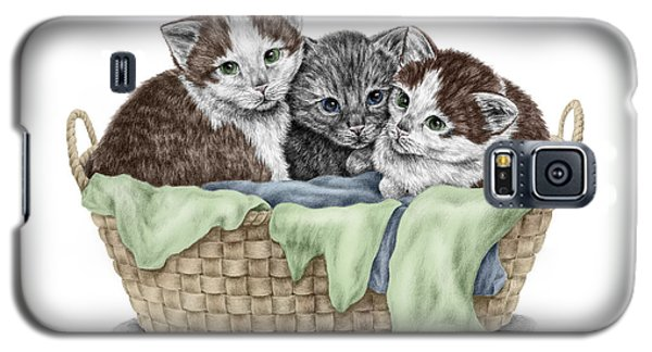 Galaxy S5 Case featuring the drawing Basket Of Kittens - Cats Art Print Color Tinted by Kelli Swan