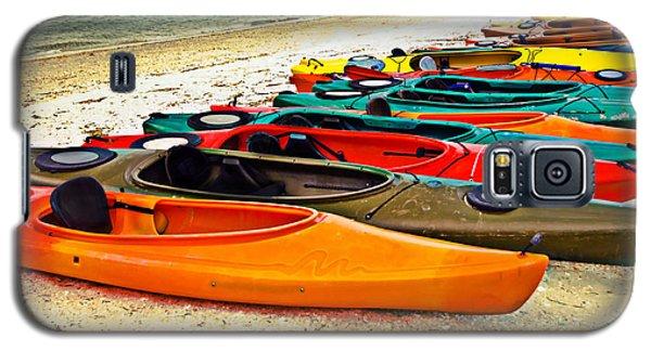 Galaxy S5 Case featuring the photograph Beach Kayaks by Susan Leggett