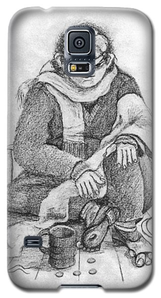 Beggar 2  In The  Winter Street Sitting On Floor Wearing Worn Out Cloths Galaxy S5 Case