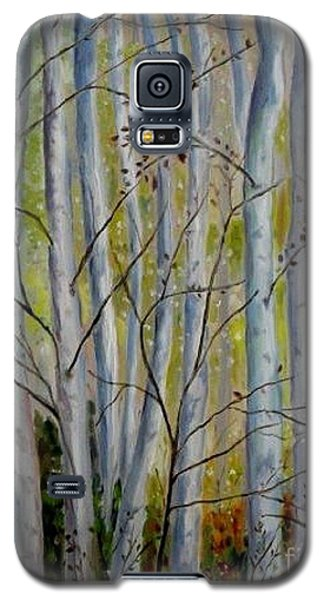 Galaxy S5 Case featuring the painting Birch Forest by Julie Brugh Riffey