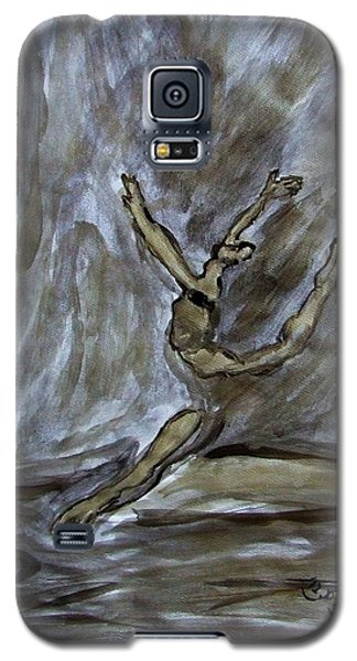 Galaxy S5 Case featuring the painting Black Gold Young Female Ballet Dancer In Strong Powerful Striking Jump Off The Ballroom Floor Arms by M Zimmerman MendyZ