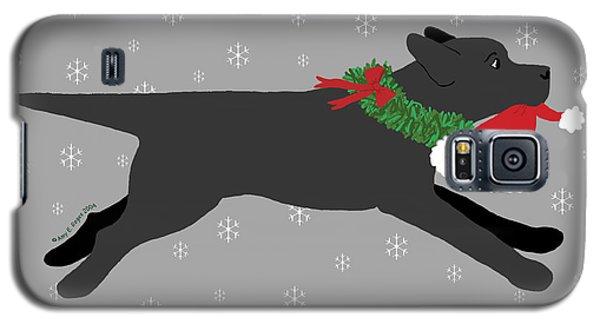 Black Labrador Steals Santa's Hat Galaxy S5 Case