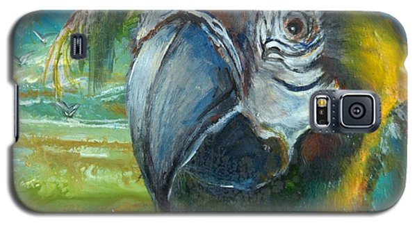 Blue And Gold Macaw By The Sea Galaxy S5 Case by Bernadette Krupa