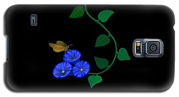 Galaxy S5 Case featuring the painting Blue Flower Butterfly by Rand Herron