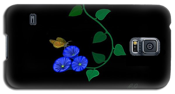 Blue Flower Butterfly Galaxy S5 Case