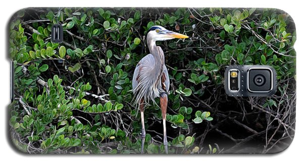 Galaxy S5 Case featuring the photograph Blue Heron In Tree by Dan Friend