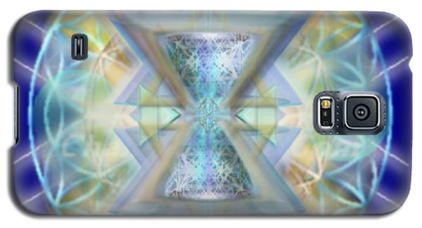 Galaxy S5 Case featuring the digital art Blue High-starred Chalices On Flower Of Life by Christopher Pringer