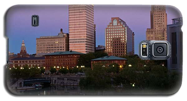 Galaxy S5 Case featuring the photograph Blue Moon Over Downtown Providence 2 by Nancy De Flon