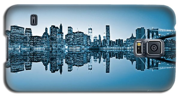 Galaxy S5 Case featuring the photograph Blue New York City by Luciano Mortula