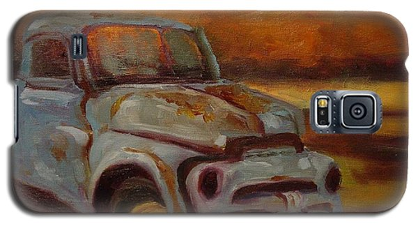 Galaxy S5 Case featuring the painting Blue Pickup by Carol Berning