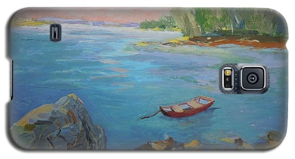 Galaxy S5 Case featuring the painting Boat And Bay by Francine Frank