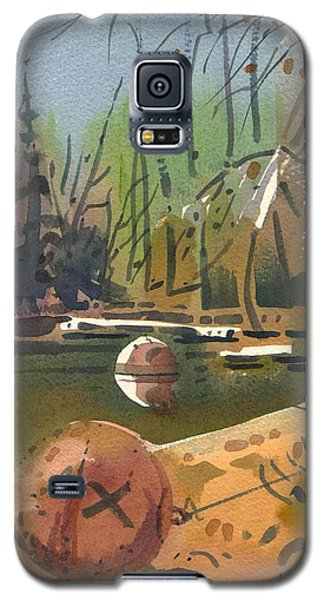 Galaxy S5 Case featuring the painting Boat Moorings by Donald Maier