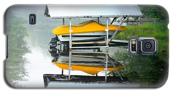 Galaxy S5 Case featuring the photograph Boat Reflections by Ann Murphy