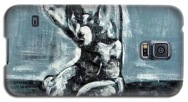 Galaxy S5 Case featuring the painting Bold Expressionistic Figure Painting Of Nude Female Reaching Upward To The Sky With Her Arm In Bw by MendyZ M Zimmerman