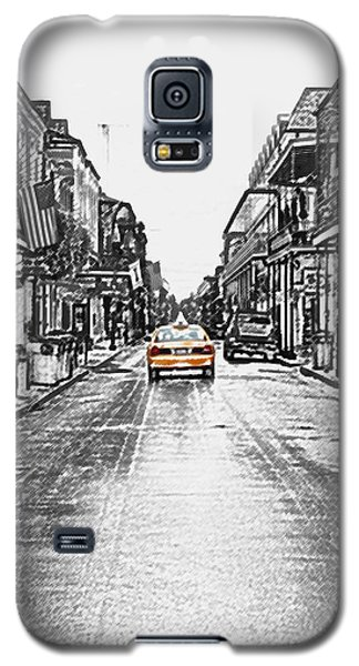 Bourbon St Taxi French Quarter New Orleans Color Splash Black And White Colored Pencil Digital Art Galaxy S5 Case by Shawn O'Brien