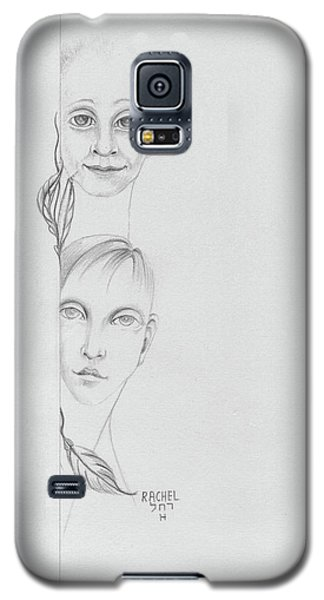 Boy And Girl Looking Over A Wall With Tree Leaves Large Eyes Straight Hair  Galaxy S5 Case by Rachel Hershkovitz