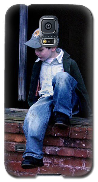 Galaxy S5 Case featuring the photograph Boy In Window by Kelly Hazel