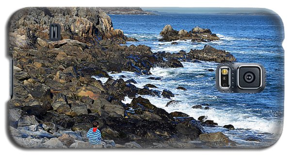Galaxy S5 Case featuring the photograph Boy On Shore Rocky Coast Of Maine by Maureen E Ritter