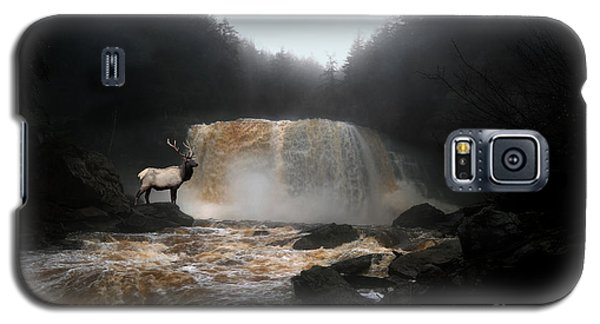 Galaxy S5 Case featuring the photograph Bull Elk In Front Of Waterfall by Dan Friend
