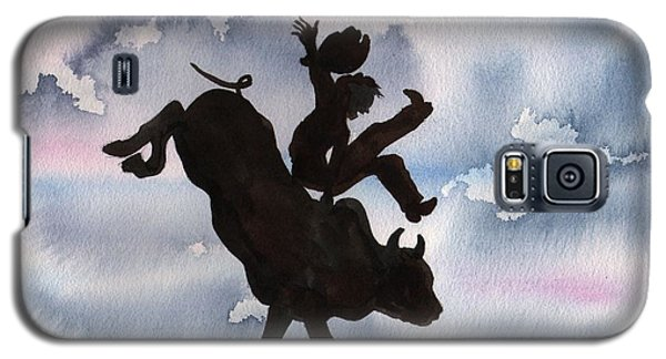 Galaxy S5 Case featuring the painting Bull Riding by Sharon Mick