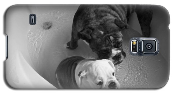 Galaxy S5 Case featuring the photograph Bulldog Bath Time by Jeanette C Landstrom