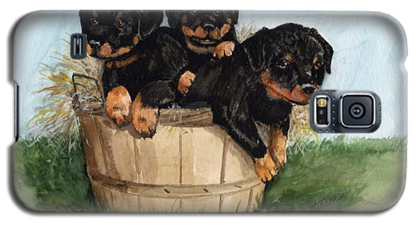Galaxy S5 Case featuring the painting Bushel Of Rotty Pups  by Nancy Patterson