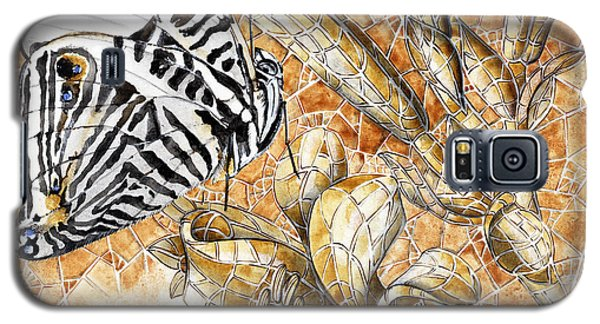 Galaxy S5 Case featuring the painting Butterfly Mosaic 02 Elena Yakubovich by Elena Yakubovich