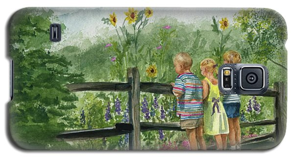 Galaxy S5 Case featuring the painting By The Garden Fence  by Nancy Patterson