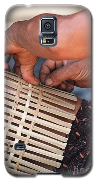 Galaxy S5 Case featuring the photograph Cambodian Basket Weaver by Nola Lee Kelsey