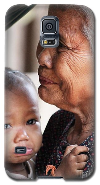 Galaxy S5 Case featuring the photograph Cambodian Grandmother And Baby #1 by Nola Lee Kelsey