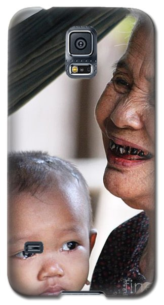 Galaxy S5 Case featuring the photograph Cambodian Grandmother And Baby #2 by Nola Lee Kelsey